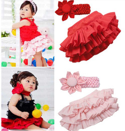 Wholesale Nappy Ruffles - Kid Child Baby Girl Ruffle Skirt Pants+Headband hairbands Bloomers Nappy Costume Pure candy colours