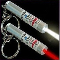 Wholesale Keychain Flashlight Red Light - Hot sale 350pcs lot # New 2 in 1 White LED Light and Red Laser Pointer Pen with Keychain Flashlight