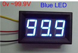 Wholesale Mini Voltmeter Blue - 10pcs Mini DC 0V To 99.9V Blue LED Digital Panel Volt Voltage Meter Voltmeter