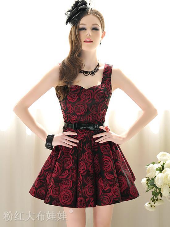 Dark red dress cocktail