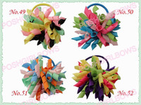 Wholesale Wholesale Hiar Bows - free shipping 100pcs 3'' fashion korker hair bow elastic mix color girl baby hiar holders