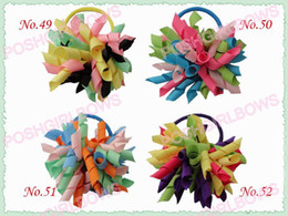 Wholesale Mixed Black Baby Girl - free shipping 100pcs 3'' fashion korker hair bow elastic mix color girl baby hiar holders