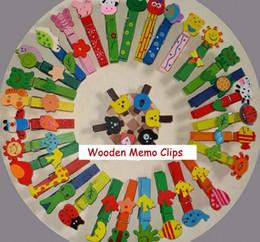 Wholesale Animal Paper Clips - FreeShip 200pcs 7CM Korean Countryside Cartoon Animal Wooden Memo Clip Wedding Snacks Clothes Clips