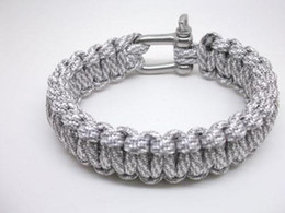 Wholesale Survival Bracelet U Clasp - Grey Stout 550 Paracord Bracelets Hiking Kits Survival Paracord Bracelets U stainless Steel Clasp