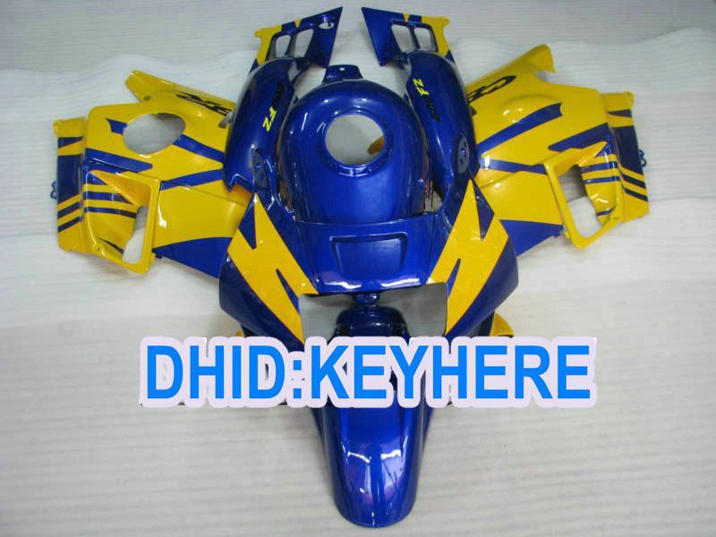Niebieskie żółte pełne wróżki dla CBR600 F2 1991 1992 1993 1994 CBR600F2 CBRF2 91 92 93 94 Zestaw do obróbki