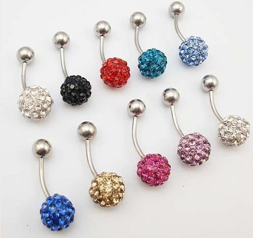 Body jewelry Rhinestone Crystal Ball Banana Bells Belly Bars Navel Rings Earring Ferido 316L steel