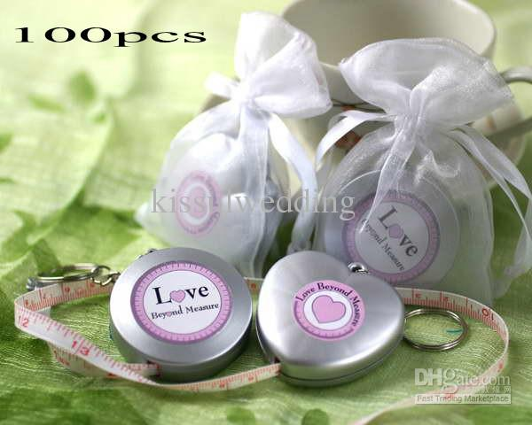 100Pcs/lot Wedding gifts of Measuring Tape Keychain in Sheer Organza Bag for Bridal Shower Party Favors