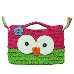 Wholesale Crochet Owl Purses Handbags - Crochet OWL Purse Handbag , Girl Kids Handmade Crochet Knitted Cute Owl Handbag Purse Bag