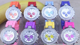 Wholesale Unisex Geneva Silicone - Unisex Geneva Silicone Crystal Rhinestone Quartz diamond Ladies Men's Jelly Wrist Watches