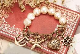 elastic beaded bracelets wholesale 2019 - Charm vintage antique bracelet elastic band alloy Imitation Pearls Chain Bracelet wristband jewelry cheap elastic beaded