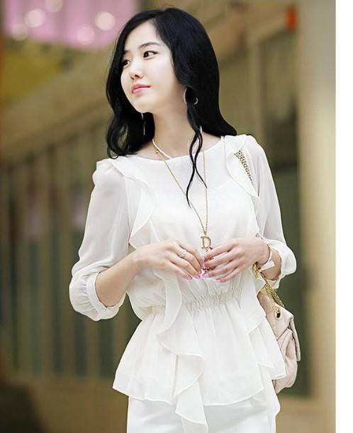2017 Wholesale Korean Fashion Spring Summer Beautiful Lady Blouse ...