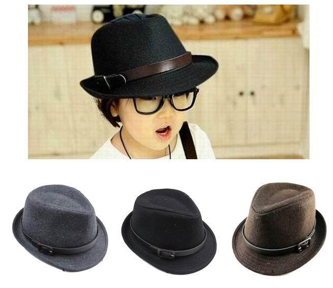 2019 Kids Tweed Fedora Hats Children Winter Fedoras With Belt Baby Hat Caps  Black Brown Grey Colors Mix From Ellenliuting ba7da3d1222