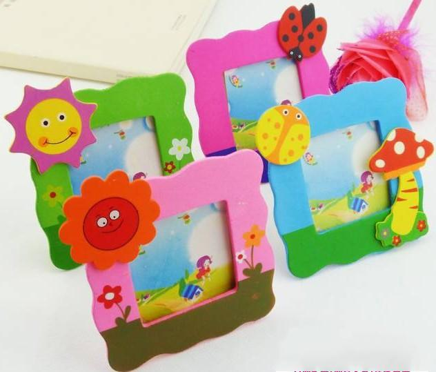 10pcslot cartoon wooden small photo frame cute children photo frames student prize 6 color 18g free shipping