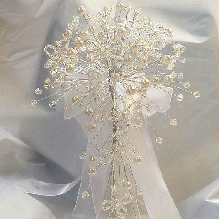 Handmade Wedding Flowers: New Stunning! Top Quality Crystals And Pearls Handmade