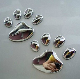 Wholesale Auto Dog Door - 50 Pieces 25 sheets Auto Body Post 3D Cat Dog Paw stereo car PVC stickers stickers automobile label