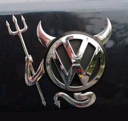 papel de embrulho de fibra de carbono Desconto 50 pcs Auto Corpo Post 3D carro estéreo PVC adesivos Prata Legal demônio adesivos etiqueta do automóvel do diabo