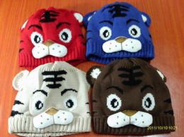 Wholesale Crochet Cartoon Beanies - children tiger hat, cartoon baby crochet beanie, infant knitted linecaps, toddler cap