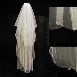 Wholesale Fingertip Lights - Free shipping High quality Light Ivory fingure tip Length bridal accessory Two layer 2T with Comb beaded wedding bridal veil