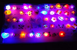 Wholesale Cluster Lighting - LED flash ring 3 led lights cartoon animal rings changing colors lighting Soft rubbe ring jewelry ss