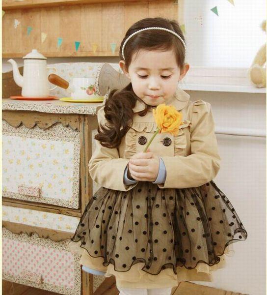 top popular children clothes 2016 spring fall autumn girls cute veil windbreaker coat, 5pcs lot, dandys 2019