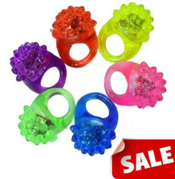 Wholesale Invisible Flash - Strawberry Led Light Flash Ring Thermoplastic Elastomer Rubber Rings Mixed Colors Children Adults Christmas gift
