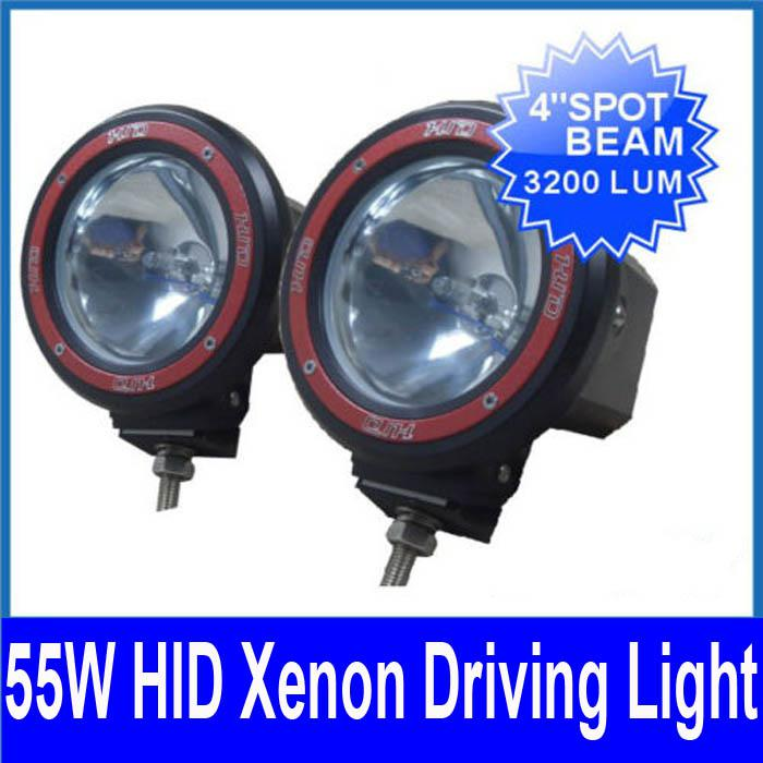 "Pair 4"" 55W HID Xenon Driving Light 4WD 4x4 Vehicle Off-Road SUV Flood Beam 9-16V Internal Ballasts"