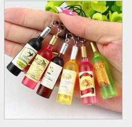 Encantos de comida squishy on-line-Mini garrafas de vinho Simulação food squishy cadeia / mobile phone strap / telefone celular charme 200 pcs