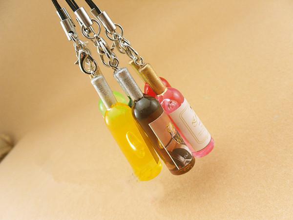 Mini şarap şişeleri Simülasyon gıda squishy zinciri / cep telefonu askısı / cep telefonu çekicilik 200 adet
