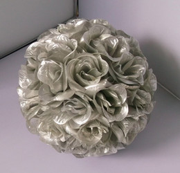 Wholesale Silver Kissing Balls - 2016 silver color silk kissing rose flower ball artificial silk flower ball 25cm diameter