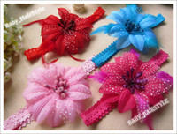 Wholesale Hairclip Feathers - 8Color (3.5inch Feather Satin Flower +Hairclip +0.7 inch Elastic Lace Headband) Baby Hair Band 16pcs