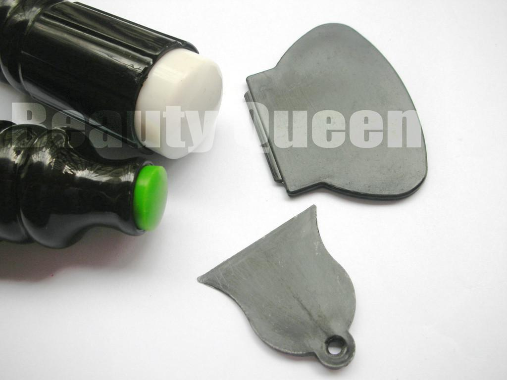 Newest BIG Silica Dual Double Sided Ended Stamp Stamper &2x Scraper for XL Nail Stamping Image Plate