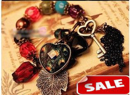 Discount peacock ball - Fashion Vintage Bracelet Colorful Balls Heart Peacock Feather Key Tassels Bead charm Alloy Bracelets