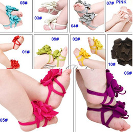 Wholesale Top Baby Flower Sandal - Top Baby Foot Flowers Special Design Baby Sandals Bare Foot Sandals 100 Pieces Equal 50Pairs per Lot