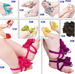 Wholesale Top Foot Sandals - Top Baby Foot Flowers Special Design Baby Sandals Bare Foot Sandals 100 Pieces Equal 50Pairs per Lot