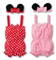 Wholesale Doomagic Set - Doomagic Two-piece Sets Lovely Minnie Headband Rompers Red Pink Two Colors Children's Outfits &