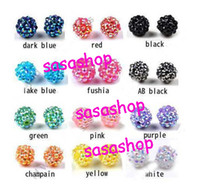 Wholesale Resin Rhinestone Paves Ball Beads - DIY 12mm balls Epoxy Rhinestone Round Disco Ball Pave Beads Resin Crystal Spacers Beads Jewelry Find
