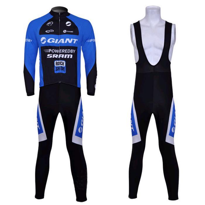 Ciclismo Bicicleta Gigante Deportes al aire libre mangas largas Jersey + babero pantalones Tamaño de bicicleta M- XXXL