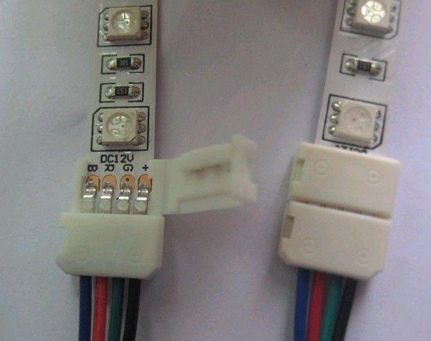 4PIN 10MM RGB LED Strip Light Conectores sin soldadura con 15CM Cable desnudo a controlador RGB LED no a prueba de agua