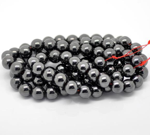 schwarzer Hämatit mit magnetischen runden Perlen 10mm
