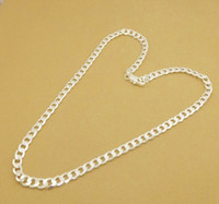 Wholesale Silver Curb Chain 4mm - New Fashion Men's Jewelry 925 Silver 4mm Men's Curb Chain Necklac 26inch-30inch 10pcs lot