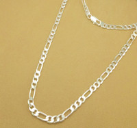 Wholesale 26inch Chain - Fashion Men's 925 Silver Necklace 4MM Figaro Chains Necklace 26inch-30inch Jewelry 20pcs