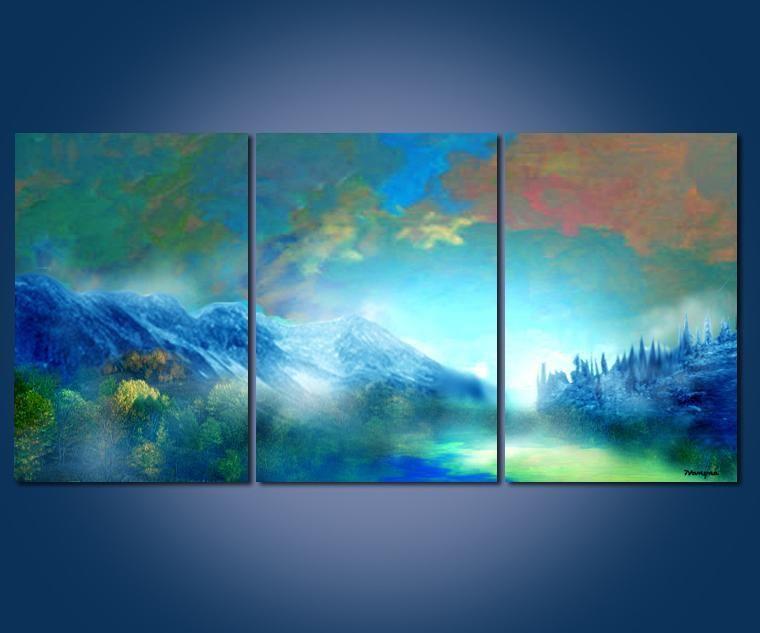 Moderne kunst abstracte landschap olieverfschilderij muur decor 40x60cmx3