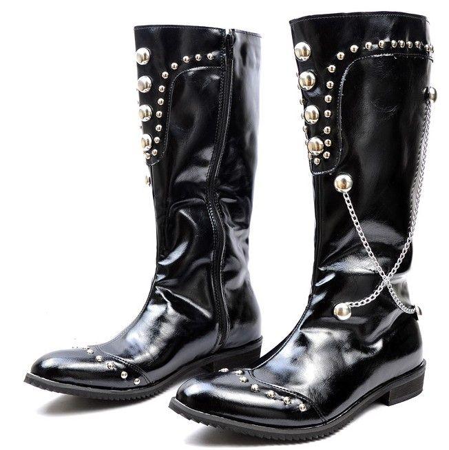 Black Color Men'S Shoes Knee High Boots,Punk Rivets Chains