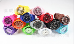 Wholesale Ladies Silicone Watches Wholesale - 30PCS Unisex (13 Colors) Candy Jelly Silicone Date Children Watch Men's Women's Watches Ladies Watch