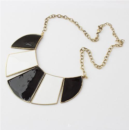 Blue white line inlay necklace European and American popular necklace