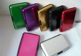 Wholesale Purple Aluminum Wallet - 50pcs lot Aluminium Credit card wallet cases ( 8 colors available) card holder bank card case