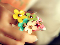 Wholesale Enamel Christmas - Enamel Daisy flower ring candy colors rings charm jewelry gold plated alloy ring Christmas gift