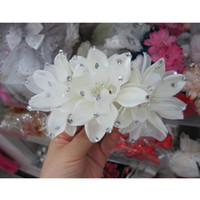 Wholesale Fabric Comb - Free Shipping New Crystal Beaded Fabric Flower Headpiece Party Wedding Bridal Hair Accessory Flower with Comb
