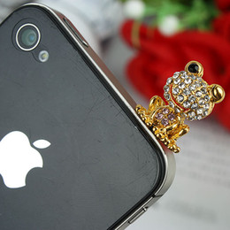 Wholesale Dustproof Plug Mobile Phone - Frog Mobile Phone Dustproof Plug Alloy & Crystal Material Free Shipping LM-P004