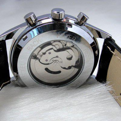 Jaragar White Dial Mannen Lederen Duikhorloges Roestvrij Luxe Automatische Mechanische Mens Horloges
